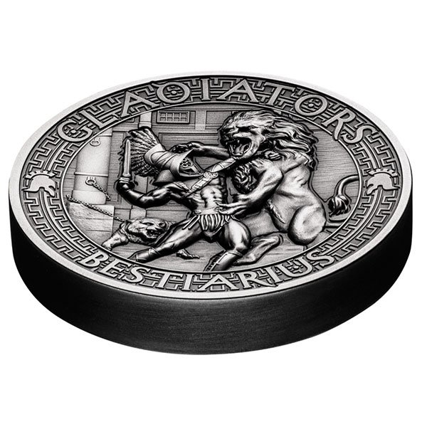 Bestiarius The Gladiators 2 oz Antigue finish Silver Coin 5$ Solomon Islands 2017