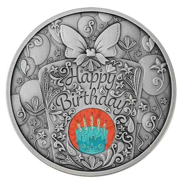 Happy Birthday 1oz Antique finish Silver Coin 1$ Niue 2020