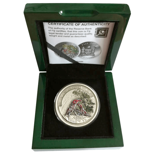 """Fiji 2014 10$ Stagbeetle """"Insect of the Year"""" 2 oz Antique finish Silver Coin"""