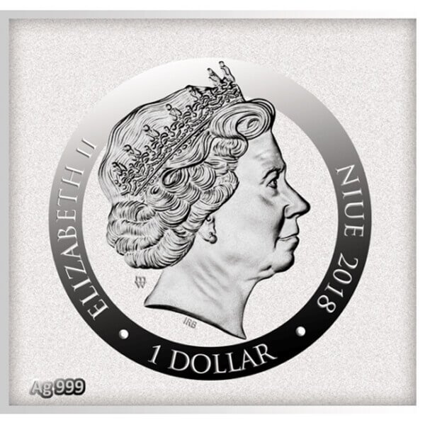 Angel Playing a Flageolet Divine Guardians of Humanity Proof Silver Coin 1$ Niue 2018
