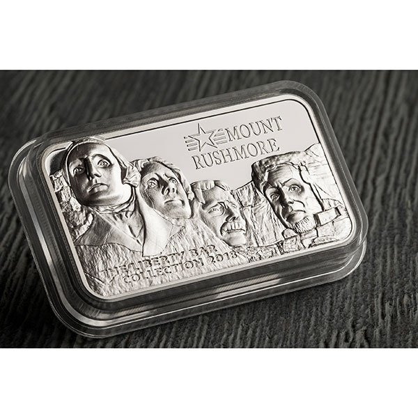 Mount Rushmore Liberty Bar Collection 2 oz Proof Silver Coin 10$ Cook Islands 2018