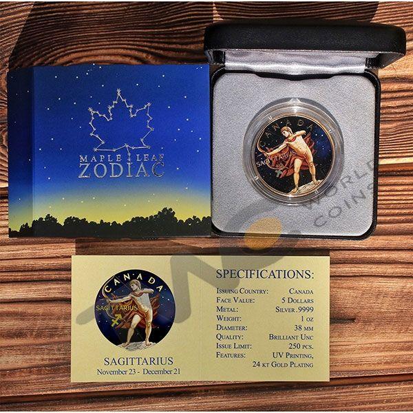 Maple Leaf Zodiac - Sagittarius 1 oz BU Silver Coin 5$ Canada 2018