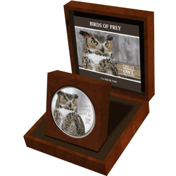 Niue 2013 2$ Great Horned Owl Birds of Prey Proof Silver Coin