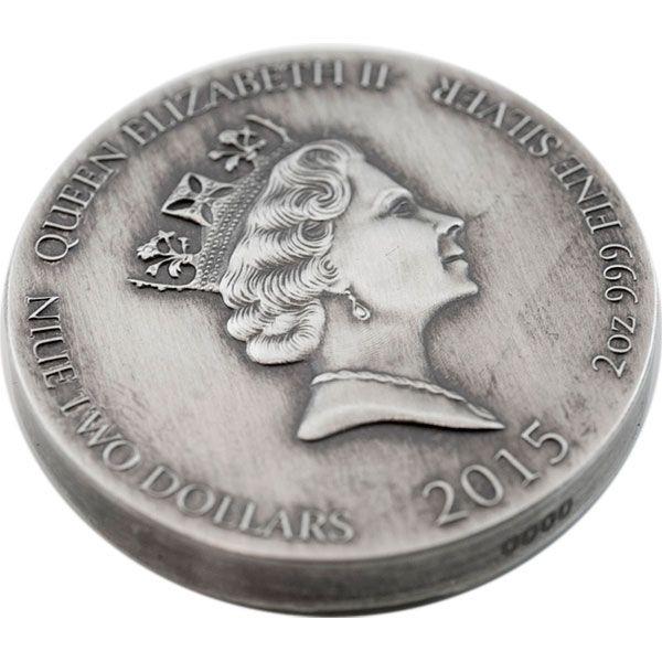 Niue 2015 2$ RAGNAR Vikings Gods Kings Warriors  2oz Antique finish Silver Coin