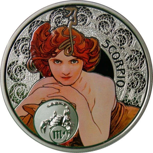 Niue 2011 1$ Scorpio A. Mucha Zodiac Proof Silver Coin