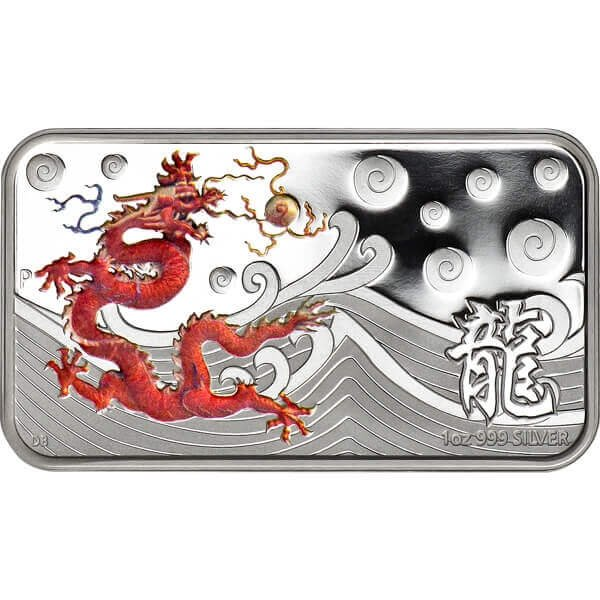 Year of the Dragon Rectangle - Yellow Proof Silver Coin 1$ Cook Islands 2012