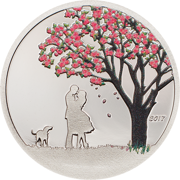Cherry Blossom Globe Proof-like Silver Coin Cook Islands 1$ 2017