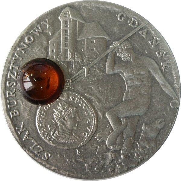 Gdansk Amber Route UNC Silver Coin 1$ Niue 2008