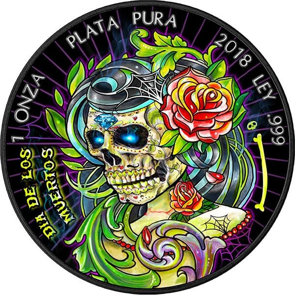Dia De Los Muertos II  Day of the Dead  1 oz Black Ruthenium BU Siver Coin 1 Onza Mexico 2018
