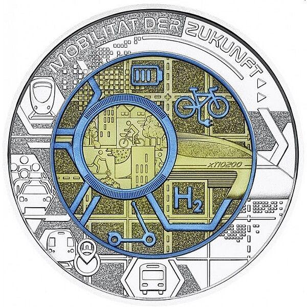 Smart Mobility BU Niobium Silver Coin 25 Euro Austria 2021