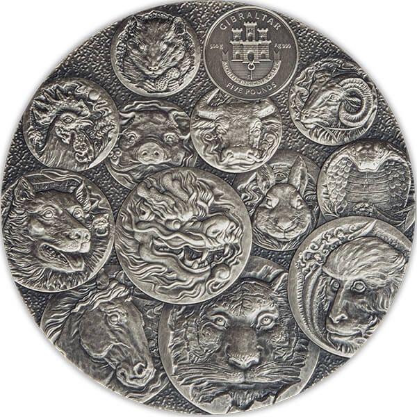 Open Your Door To Luck Lunar Lucky 500g  Antique Finish Silver Coin 5 Pounds Gibraltar