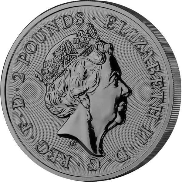 Landmarks of  Britain Golden Enigma Edition  4 х 1 oz Black Ruthenium BU Silver Set United Kingdom 2017 -2019 4 х 2 pounds