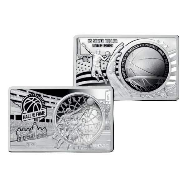 Hall of Fame 60th Anniversary of Basketball 2oz & 26.73 g Proof Curved Silver Coin 1$ United States 2020