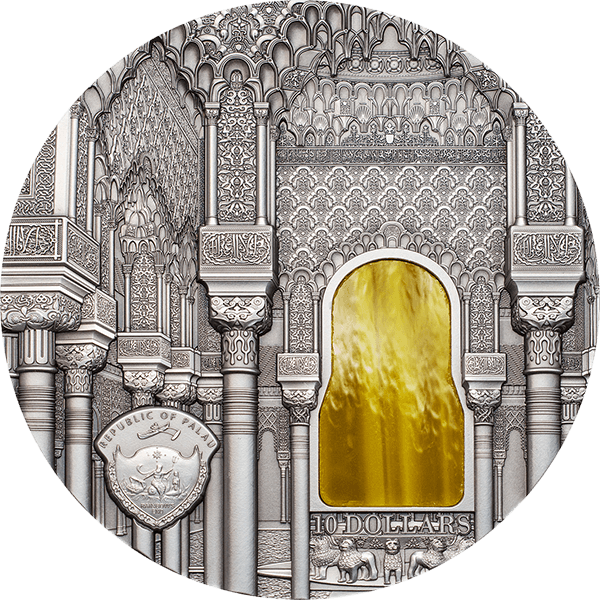 Palau 2015 10$ Nasrid Style Tiffany Art 2 oz Antique finish Silver Coin