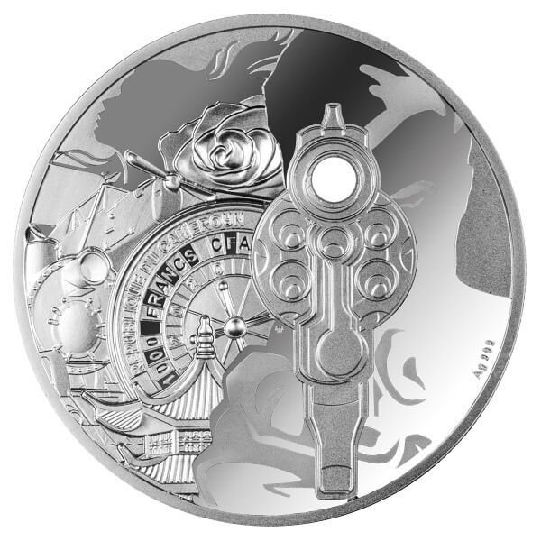 Ian Fleming 1 oz Proof Silver Coin 1000 Francs CFA Cameroon 2020