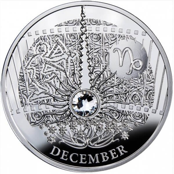 DECEMBER  The Magic Stones of Happiness  Proof silver Coin 1$ Niue 2013