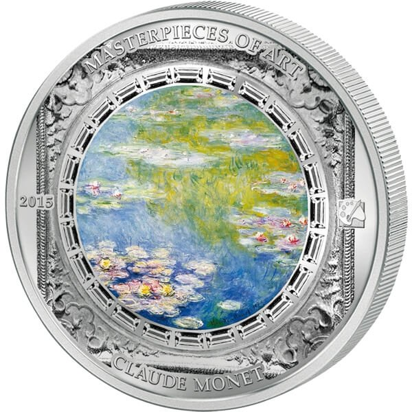 "Cook Islands 2015 20$ Claude Monet´s Masterpiece ""Water lilies"" Masterpieces of Art 3 oz Proof Silver Coin"