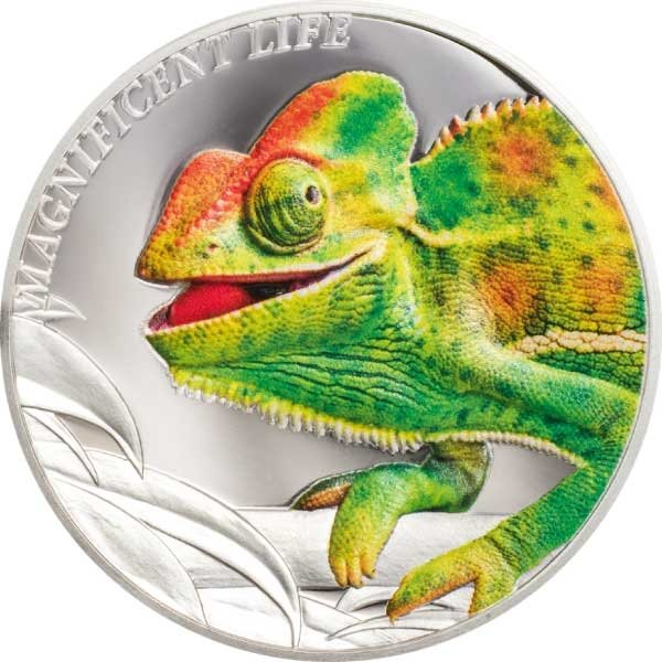 Chameleon Magnificent Life 1 oz Proof Silver Coin 5$ Cook Islands 2020
