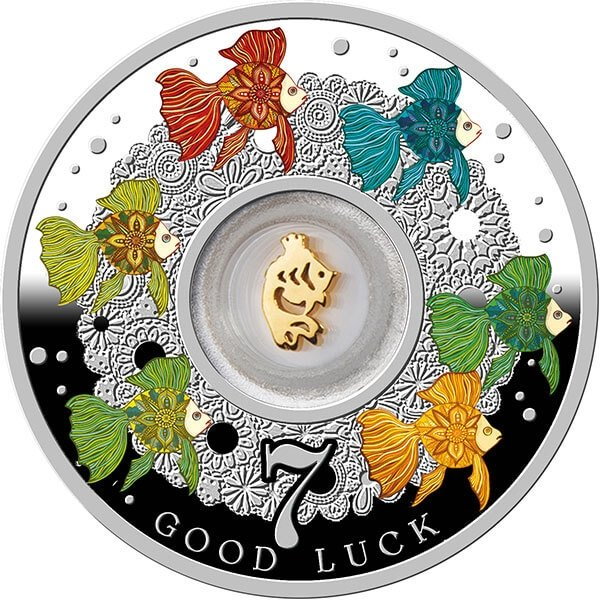 Lucky Seven Seven Goldfish Proof Silver Coin 500 Francs Cameroon 2017