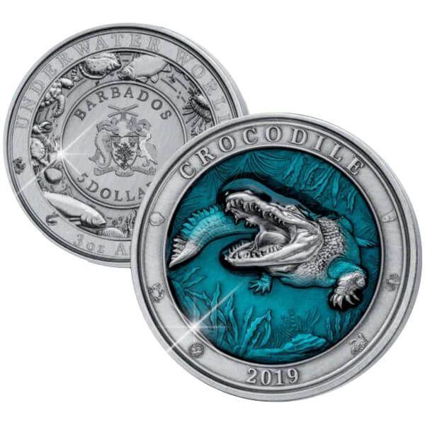 Crocodile Underwater World 3 oz Antique finish Silver Coin 5$ Barbados 2019