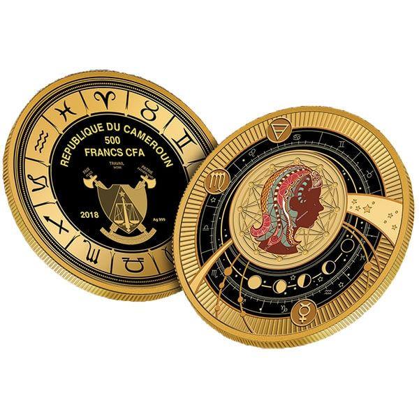 Virgo Zodiac Sign Proof Silver Coin 500 Francs Cameroon 2018