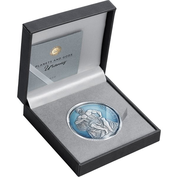 Uranus Planets and Gods 3 oz Antique finish Silver Coin 3000 Francs CFA Cameroon 2020