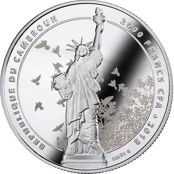 Freedom is the Oxygen of the Soul - Be Free 2 oz Proof Silver Coin 2000 Francs Cameroon 2018