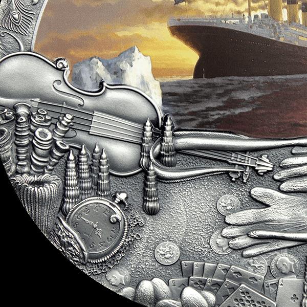 Titanic Grand Shipwrecks in a History 2 oz Antique finish Silver Coin 5$ Niue 2020