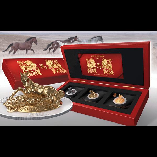 Rwanda 2014 3 x 500 Francs Three Dimensional Horse Coin Set BU Silver Set