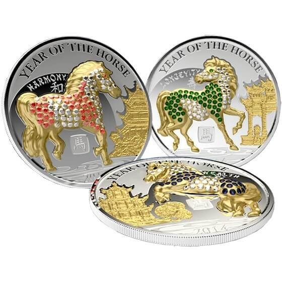 Pave-set  Year of the Horse Proof Silver Set 3 x 500 Francs Rwanda 2014