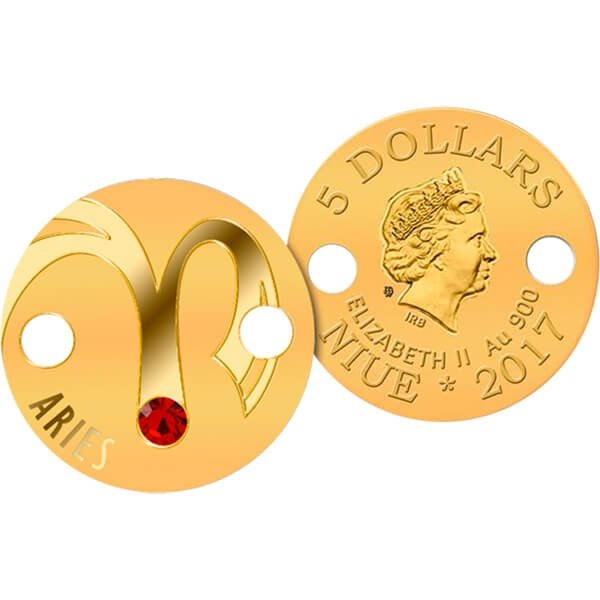 Niue 2017 5$ Zodiac Signs Pendant Aries Proof Gold Coin