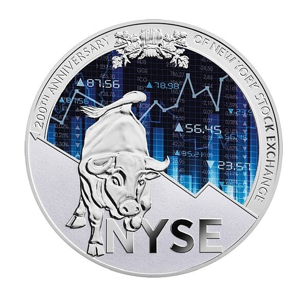 Cameroon 2017 10000 Francs 200th Anniversary of New York Stock Exchange 250 g Proof Silver Coin