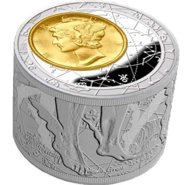 Fortuna Redux Mercury First Cylinder Shape 6 oz Proof Silver Coin 50$ Niue 2013
