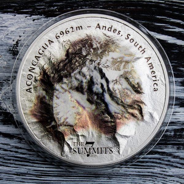 Aconcagua The 7 Summits 5 oz BU Silver Coin 25$ Cook Islands 2018