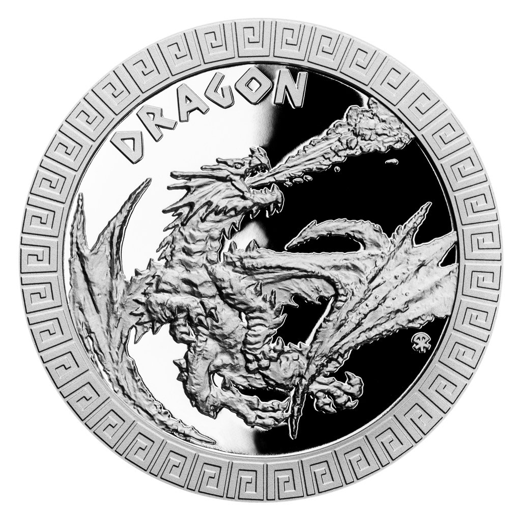 Dragon Mythical Creatures 1 oz Proof Silver Coin 2$ Niue 2020