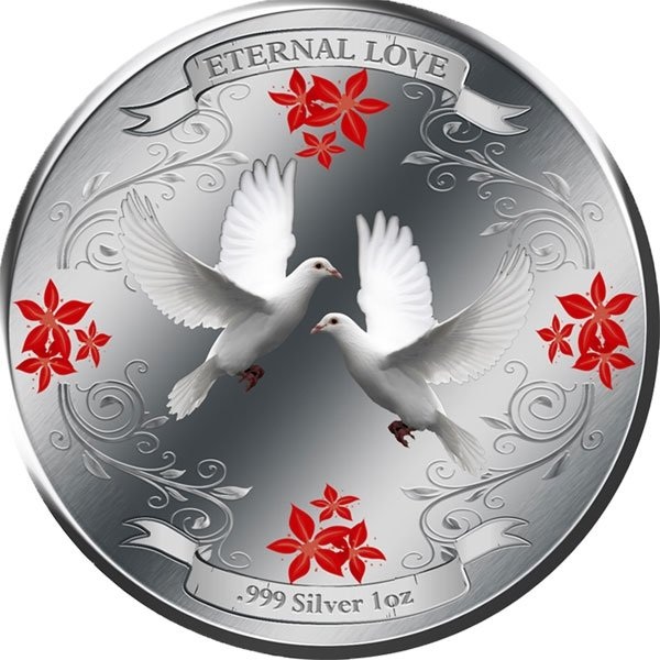 Eternal Love 2011- White Doves Proof Silver Coin 2$ Niue 2011