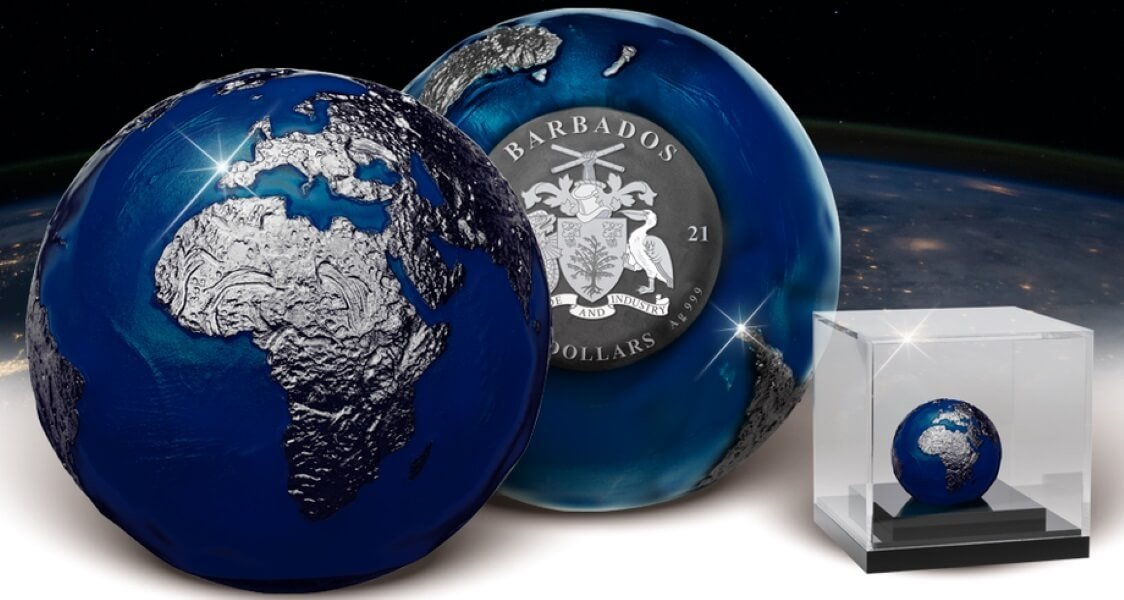 Blue Marble at Night 3 oz Antique finish Silver Coin 5$ Barbados 2021
