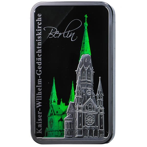 Solomon Islands 2017 2$ Kaiser Wilhelm Memorial Church in Berlin Hologram Collection 1 oz  Proof Silver Coin