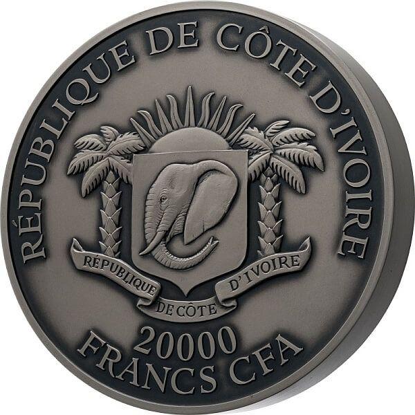 Tiger P. De Greef 2 Kilo Antique finish Silver Coin 20000 francs Ivory Coast 2021