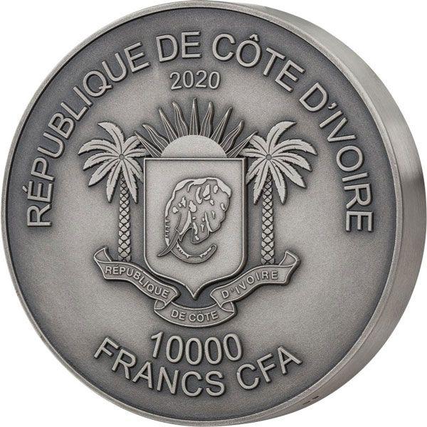 Mauquoy Haut Relief Rhino Big five 1 Kilo Antique finish Silver Coin 10000 francs Ivory Coast 2020