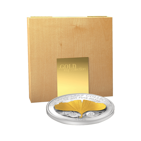 Samoa 2014 10$ Ginko Leaf 3D Gold Leaves Proof Silver Coin