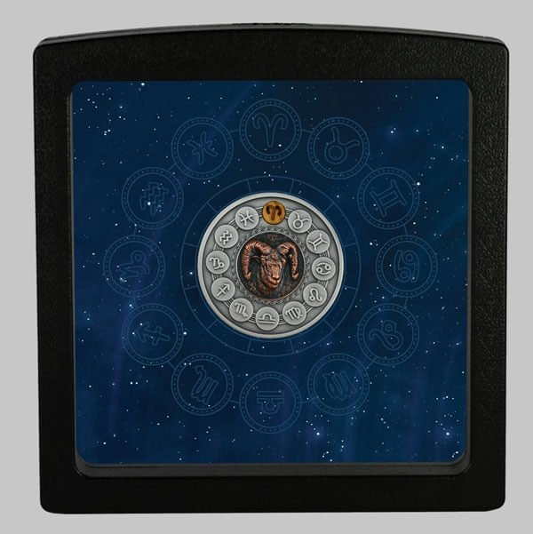 Aries Zodiac Signs 1oz Antique finish Silver Coin 1$ Niue 2020