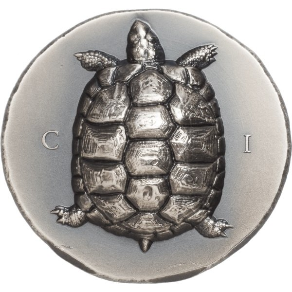 Tortoise 1 oz Antique finish Silver Coin 5$ Cook Islands 2020