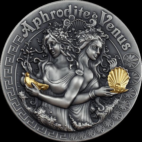 Aphrodite and Venus Goddesses 2 oz Antique Finish Silver Coin 1$ Niue 2020