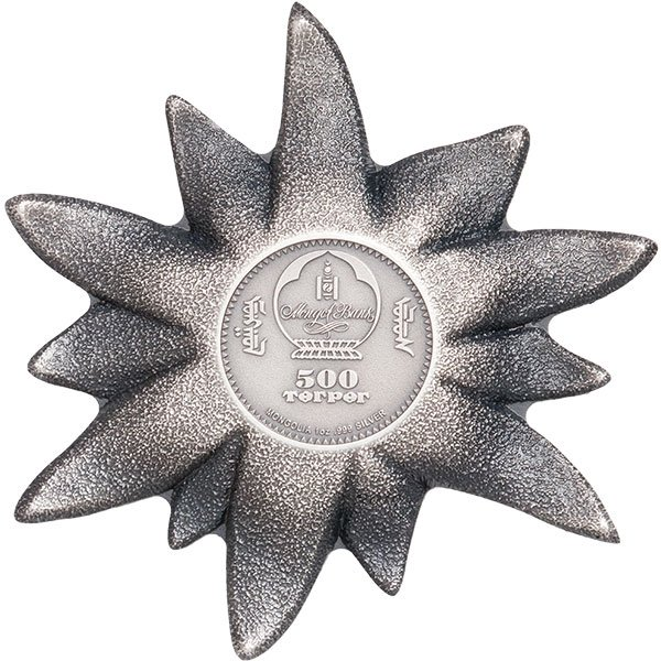 Edelweiss – Mountain Star 1 oz Proof  Silver Coin 500 togrog Mongolia 2019