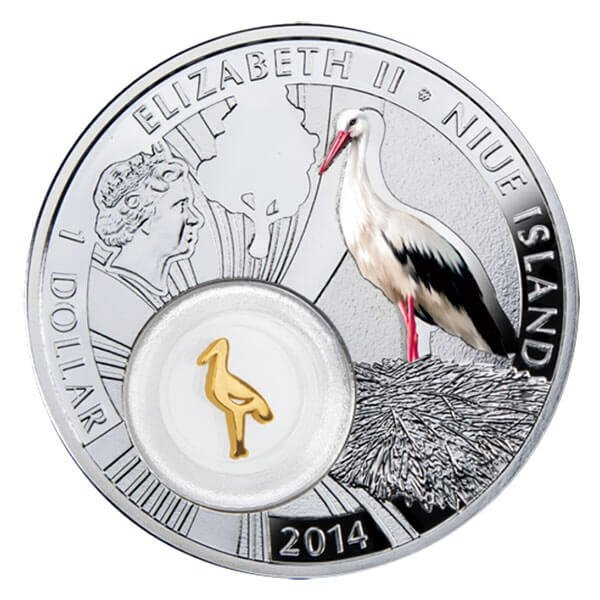 Niue 2014 1$ Stork Symbols of Luck 1/2 Oz Proof Silver Coin