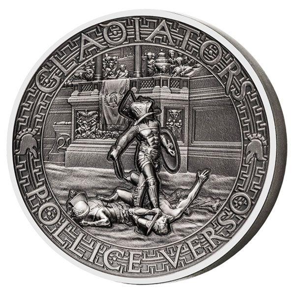 Pollice Verso The Gladiators 2 oz Antigue finish Silver Coin 5$ Solomon Islands 2017