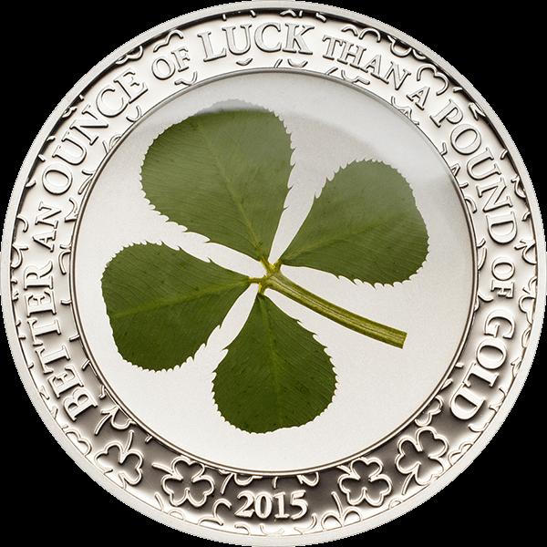 Palau 2015 5$ Ounce of Luck 2015 Four leaf clover Proof Silver Coin
