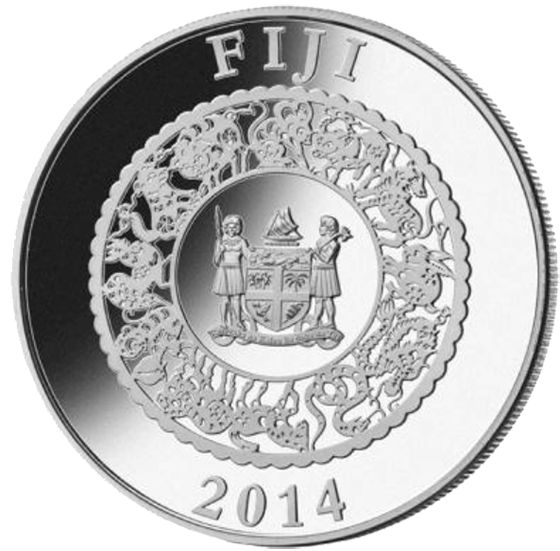 Fiji 2014 10$ Year of the Horse  Lunar 2014  Proof Silver Coin with Pearl