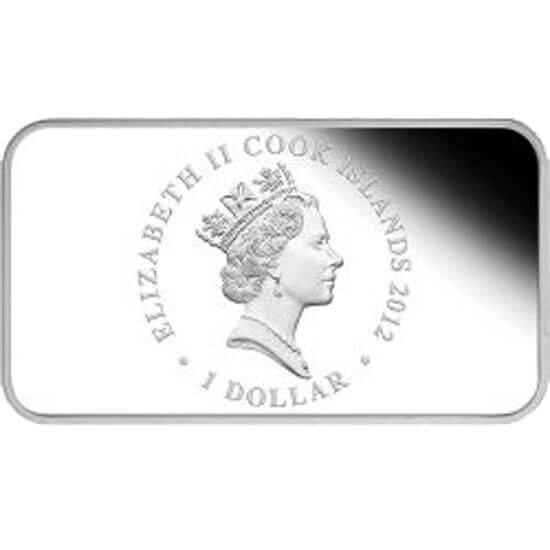 Cook Islands 2012 4x1$ Year of the Dragon Rectangle Proof Silver Set